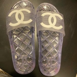 Authentic chanel transparent slides Sz 40
